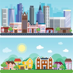 City outdoor day landscape house street buildings outdoor disign vector illustration modern flat background