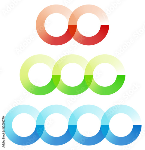 Abstract Interlocking Circles Element Set With 3 Variation 2 3 And