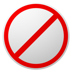 Prohibition, restriction, forbidden, no enty sign. Red circle road sign