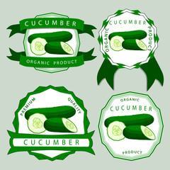 Abstract vector illustration logo whole ripe vegetable cucumber, green stem.