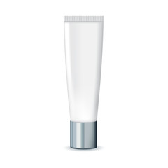 Cosmetic packaging with metal cover. Cosmetic package for cream.  Vector template for design.