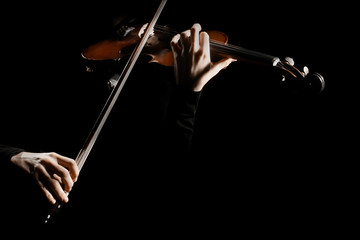 Violin player. Violinist playing violin hands