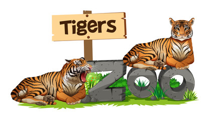 Two tigers on zoo sign