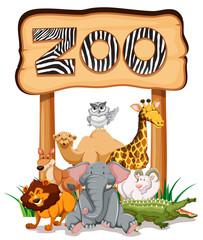 Wild animals under the zoo sign