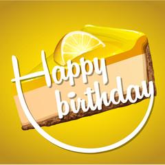 Happy birthday card template with lemon cheesecake