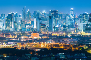Bangkok city skyline with Wat Phra Keao & Grand palace landmark at night.