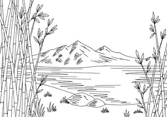 Bamboo lake graphic black white city landscape sketch illustration vector