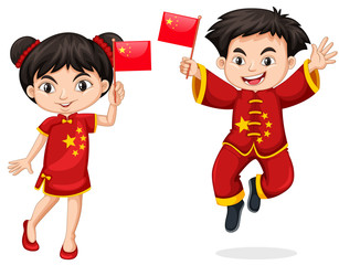 Chinese kids holding flag