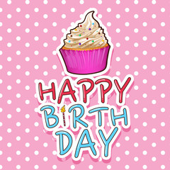 Card template for birthday with cupcake