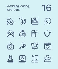 Outline Wedding, dating, love icons for web and mobile design pack 2