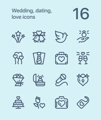 Outline Wedding, dating, love icons for web and mobile design pack 3