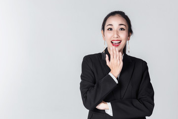 business asian woman isolate white background pont finger