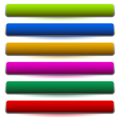 Banner, button shapes with 6 different colors included. Rectangular banner, plaque design elements