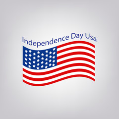Flag of the United States with the inscription. Independence Day USA. 4th of July. Vector illustration.