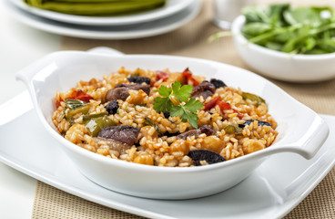 Arroz de pato. Rice with duck meat. Typical dish from Portugal.