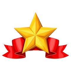 Realistic gold star on red ribbon. Illustration of award for sports or corporate competitions