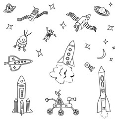 Vector illustration of spaceship set for pattern or background