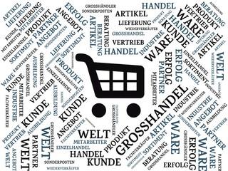 GROSSHANDEL - Bilder mit Wörtern aus dem Bereich Großhandel, Wortwolke, Würfel, Buchstabe, Bild, Illustration