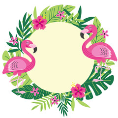 tropical frame with flamingo - vector illustration, eps