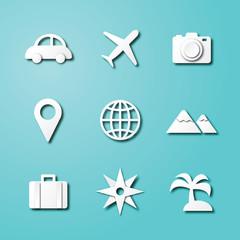 travel paper art icons