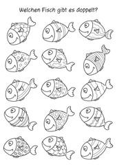 Rätselbild – Fisch-Paar finden