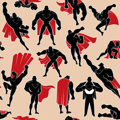 Superhero in Action Seamless Pattern / Seamless pattern with cartoon superhero in 14 different action poses.