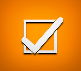 Check mark. White check mark on orange background. 3d illustration