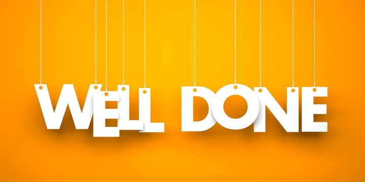 Well done. White word on orange background. 3d illustration