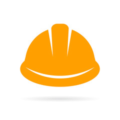Yellow construction hard hat icon