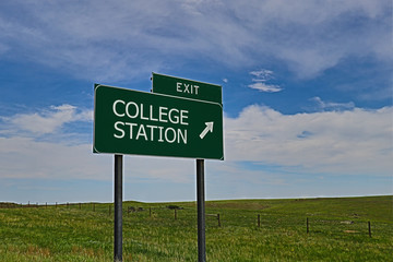 US Highway Exit Sign for College Station Wall mural