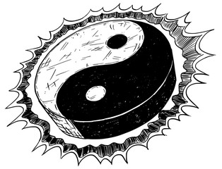Hand Drawing of Yin Yang Jin Jang Symbol