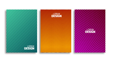 Set of minimal covers design template. Book or flyer geometric backdrop. Light pattern for corporate identity