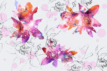 Floral background with natural flower and pencil contour