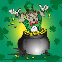 Little puppy sitting in a pot with gold coins