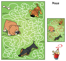 Who of the dogs will find a tasty bone?? Educational maze game for children. Cartoon vector illustration