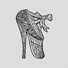 Sexy ballet shoes. Zentangle style.