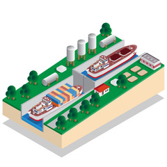 The gateway. A device for raising and lowering boats. Isometric. Vector illustration.