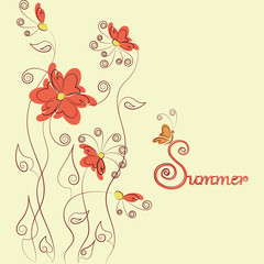 Red flowers, butterfly and signature Summer. Design for greeting cards, logos, posters or banners. Word and abstract flowers and butterflies on a light background.