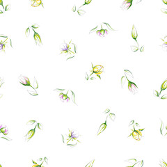 Hand-drawn seamless pattern of different types of beautiful delicate flowers on a white background