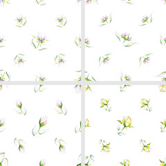 Set of seamless pattern of different types hand-drawn beautiful delicate flowers on a white background