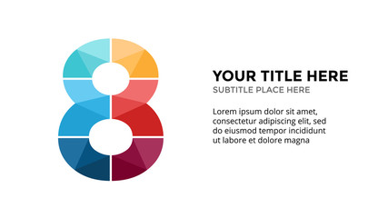 Vector alphabet infographic. Presentation slide template. Business font concept with number 8 and place for your text. 16x9 aspect ratio. Wall mural