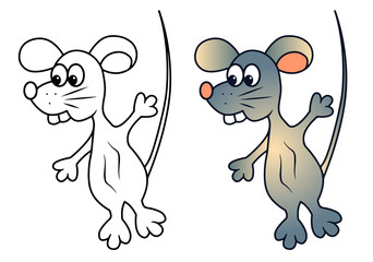 Funny rat with teeth cartoon