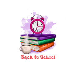 Back to school digital art illustration. Beginning of studying year event. Hand drawn clock alarm, coffee cup, notebook, book set isolated on white background. Graphic clip art design concept drawing