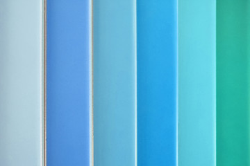 color samples , different colored tiles , blue, turquoise, green