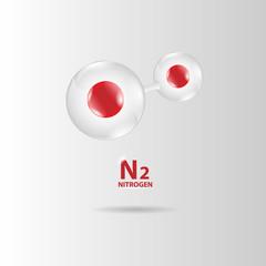 nitrogen molecule model vector