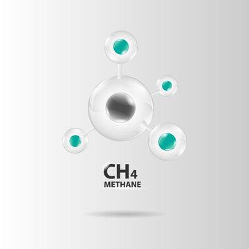 methane molecule model vector