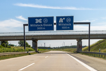 Bundesautobahn A19 Abfahrt Wittstock