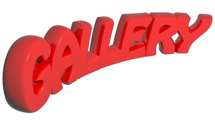Gallery written with red 3D words - 3D rendering