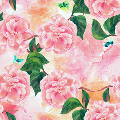 Seamless pattern with pink camellias and butterflies