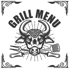 Grill menu. Bull head on white background. Vector illustration